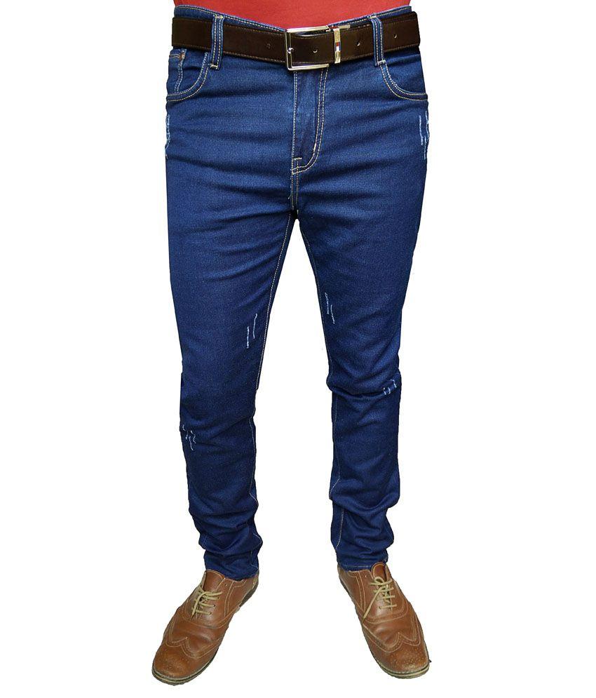 Oiin Blue Cotton Blend Slim Fit Mid Waist Jeans