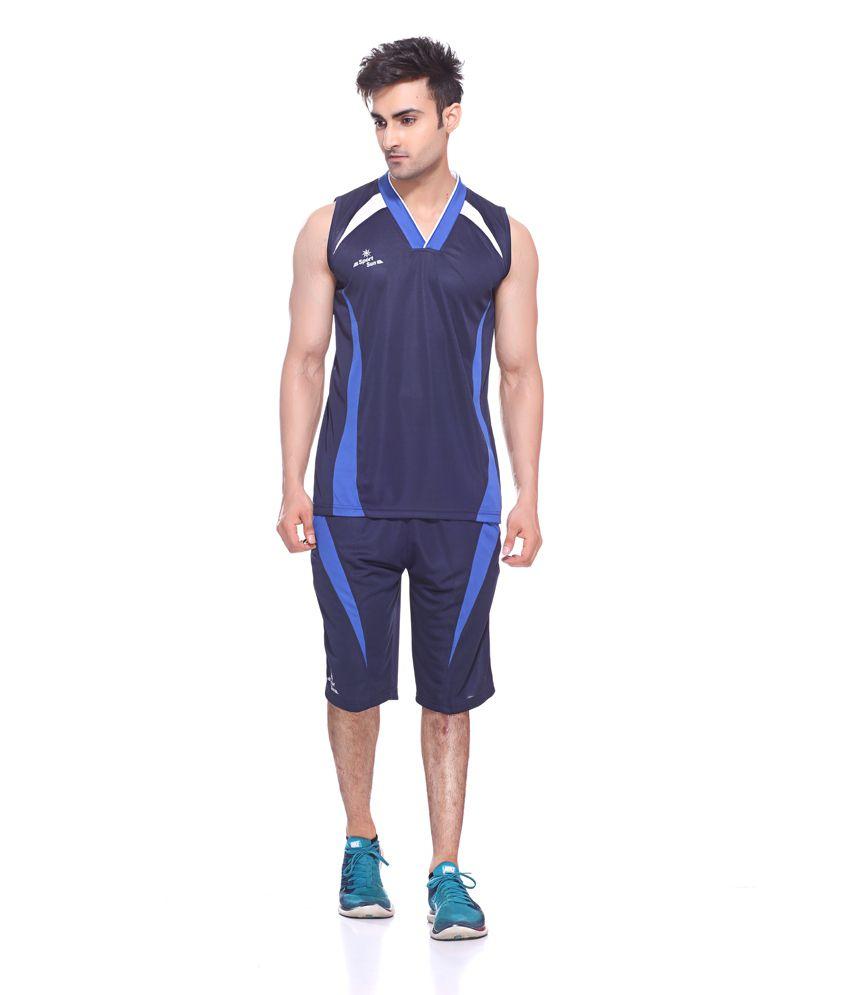 Sport Sun Sportswear Navy V Neck Cuts Sleeves Basket Ball Set