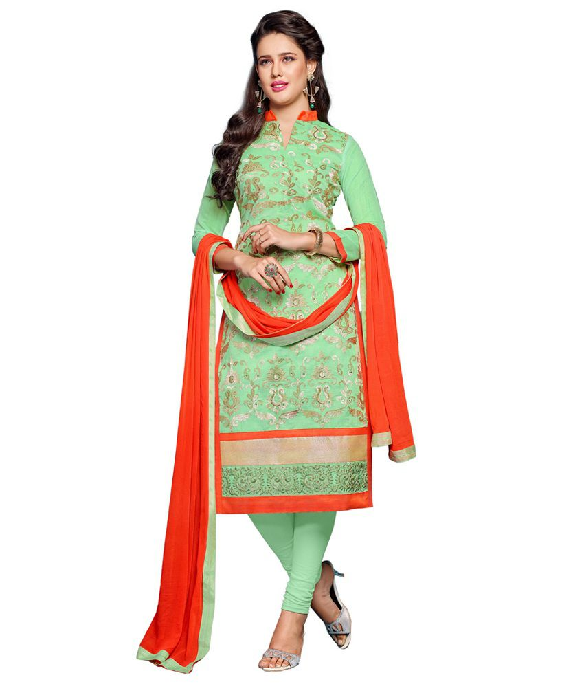 Threads & More Green Color Embroidered Semi-Stitched Salwar Suit