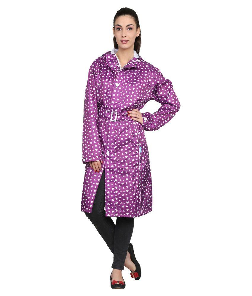 Zeel Purple Printed Knee Length Rain Coat