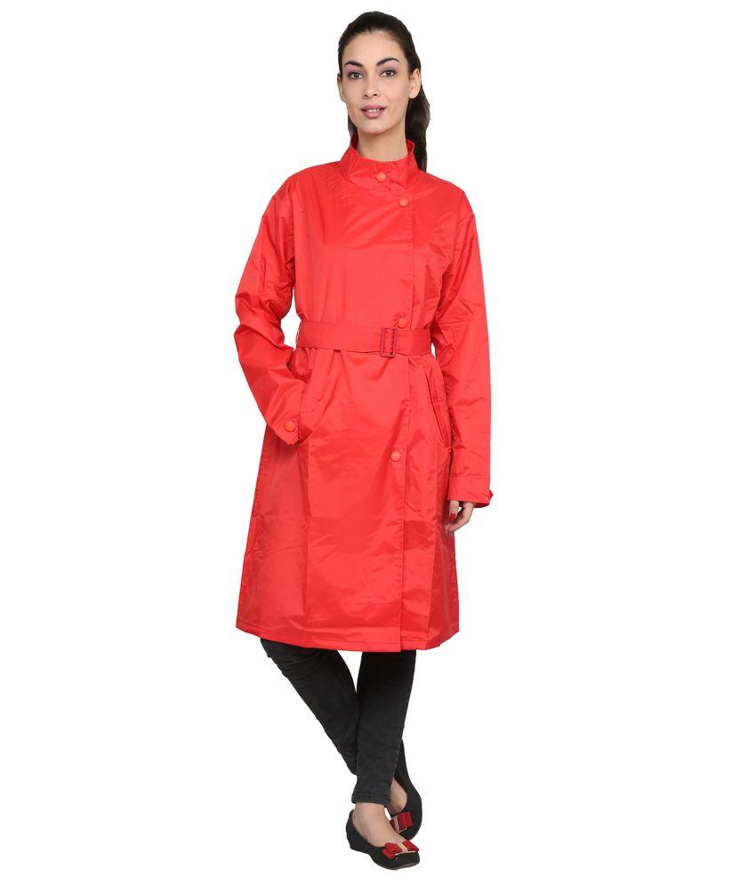 Zeel Red Solid Knee Length Rain Coat