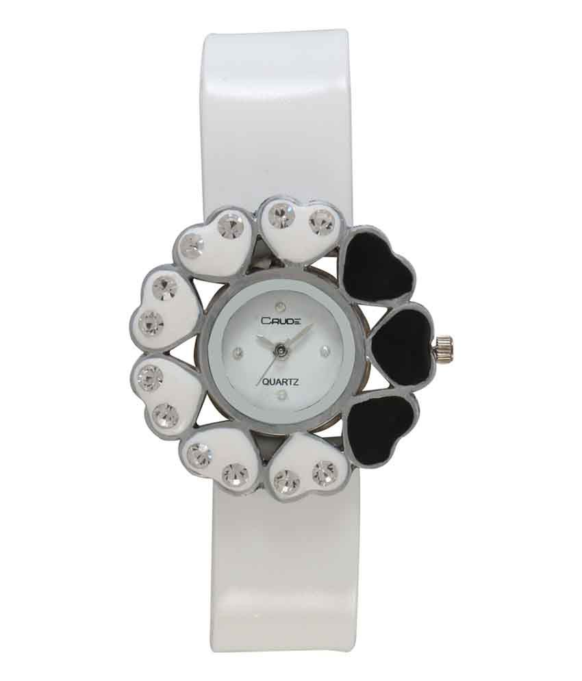 Crude White Analog Round Casual Watch