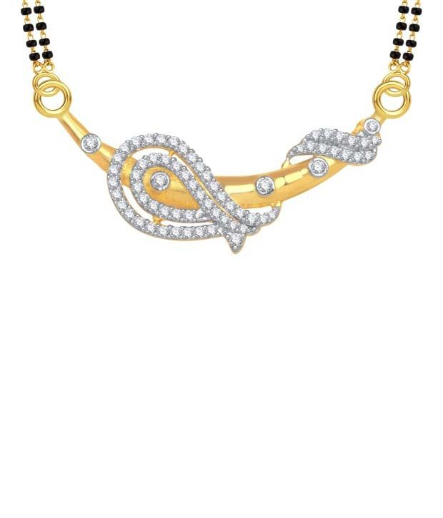 Meenaz Fancy Cz Gold And Rhoadhium Plated Mangalsutra Set