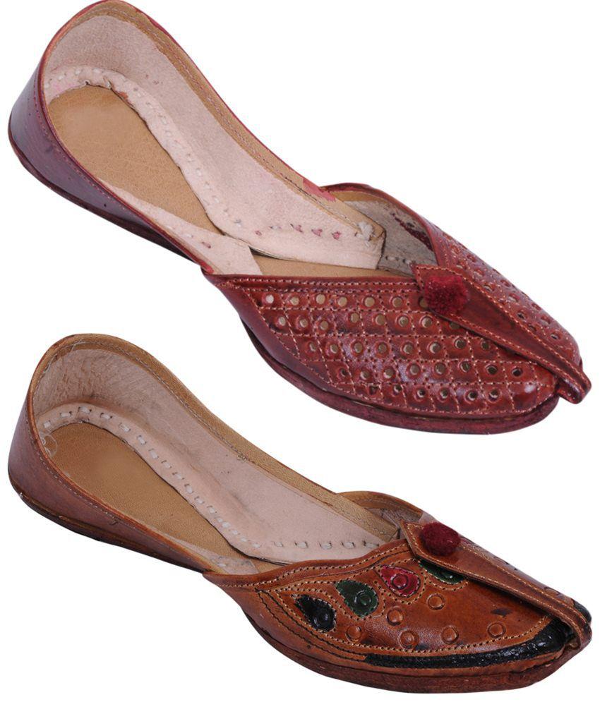 Rangaama Combo of 2 Brown & Beige Jaipuri Mojris For Women