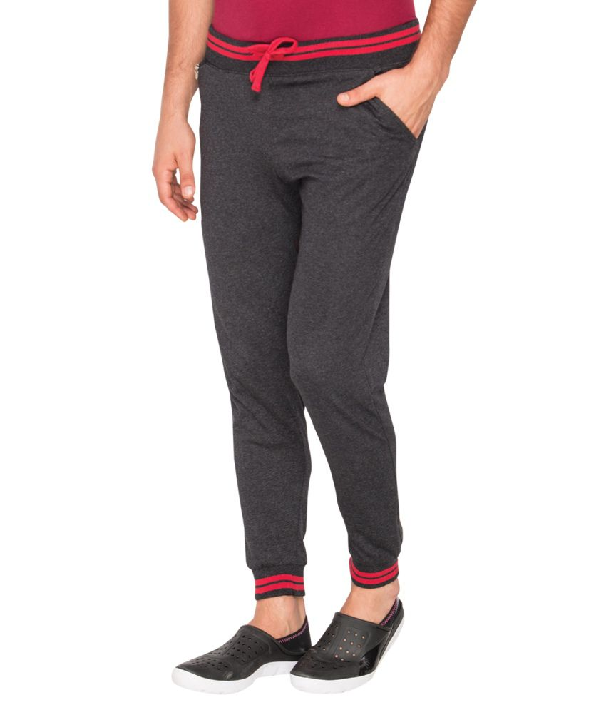 Campus Sutra Gray Cotton Track Pant For Men