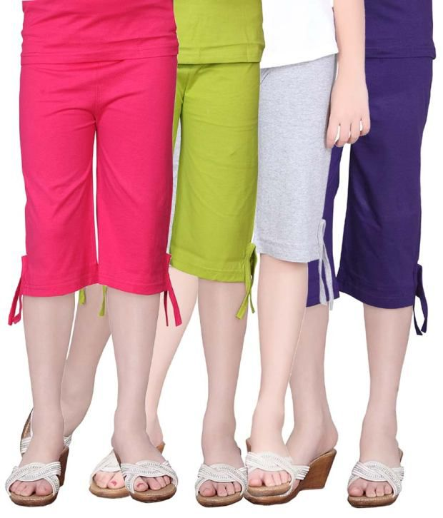 Sinimini Multicolour Cotton Capri For Girls - Set Of 4