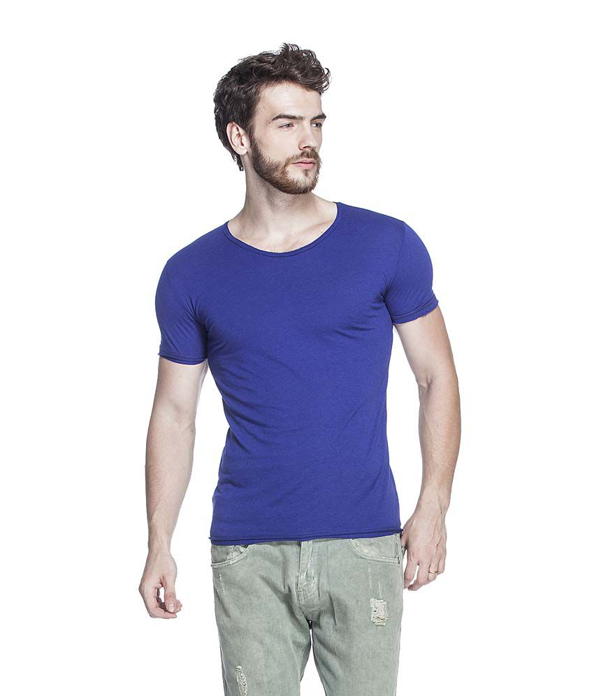 Tinted Blue Round Cotton Blend T-Shirt