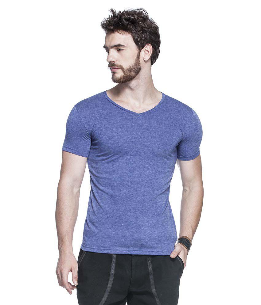 Tinted Blue V-Neck Cotton Blend T-Shirt