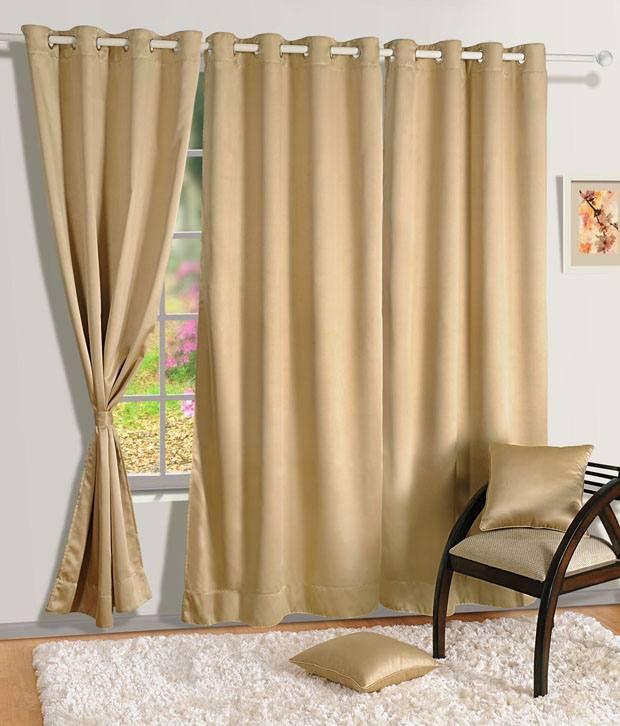 HOMEC Set of 2 Door Blackout Eyelet Curtains Solid Black&Beige