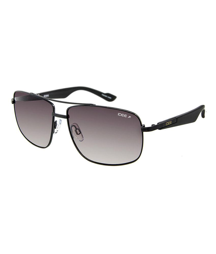 Idee S2005 C5p 59 Black And Brown Gradient Polarised Rectangular Sunglasses