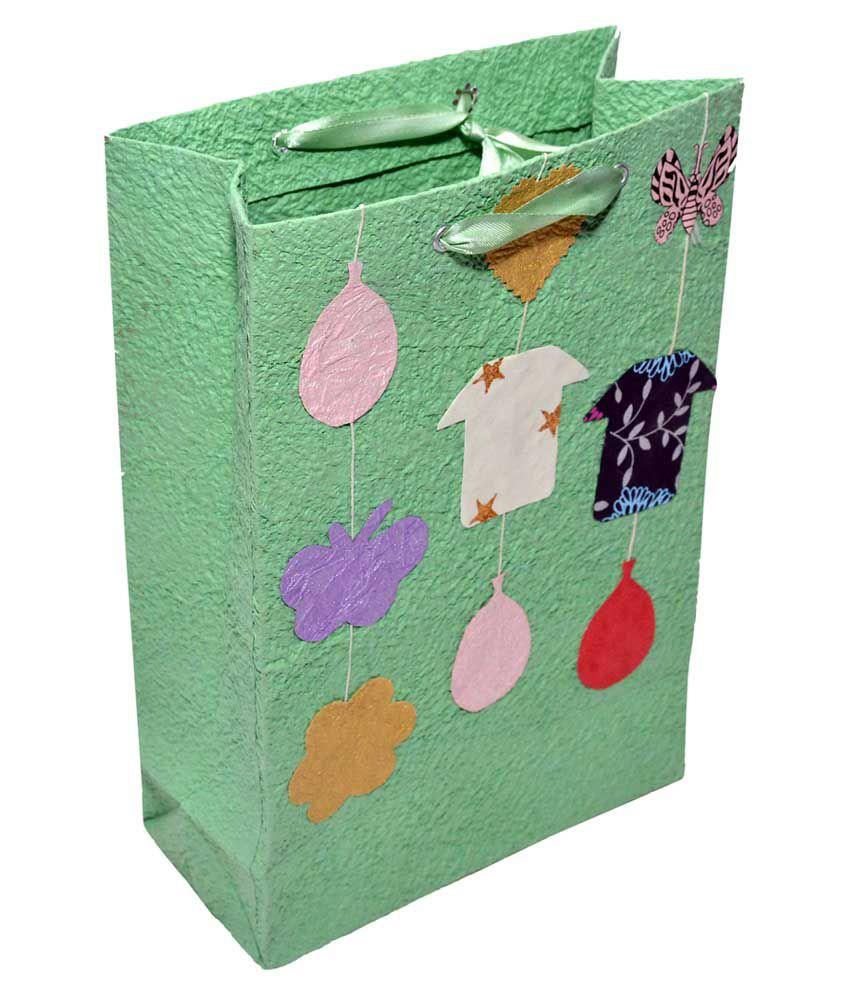 Kagzi Handicrafts Green Shagun and Gifting Paper Bags