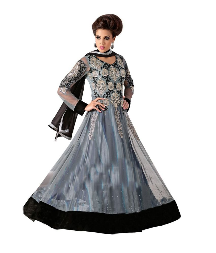 style merger net royal grey and black embroidered anarkali