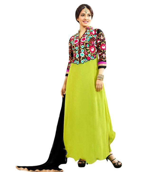 Trishana Fashions Green Pure Georgette Unstitched Dress Material