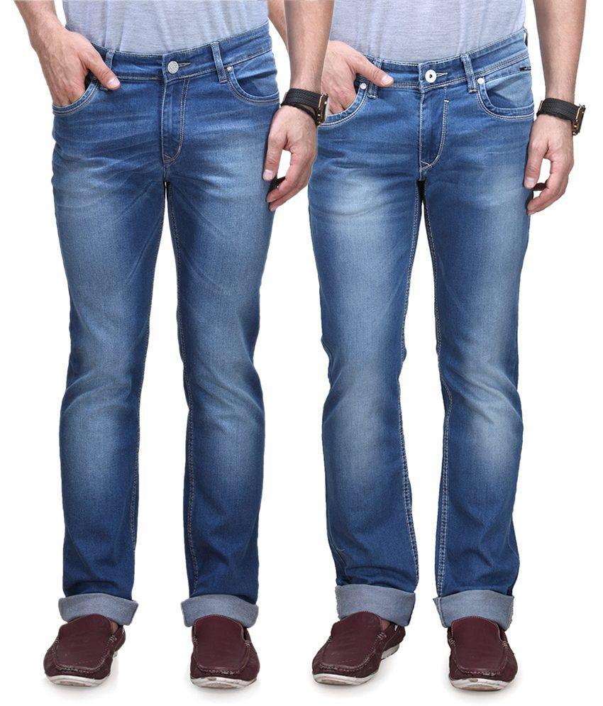 Vintage Blue Jeanswear Blue Straight Jeans Pack Of 2 Denim