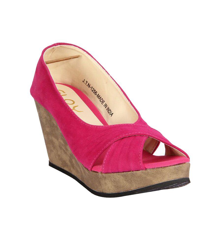 Floy Pink Wedges Sandals