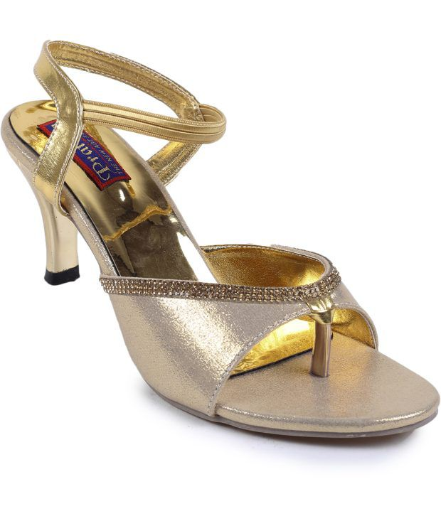 Pratibha Synthetic Fancy Golden Long Heel