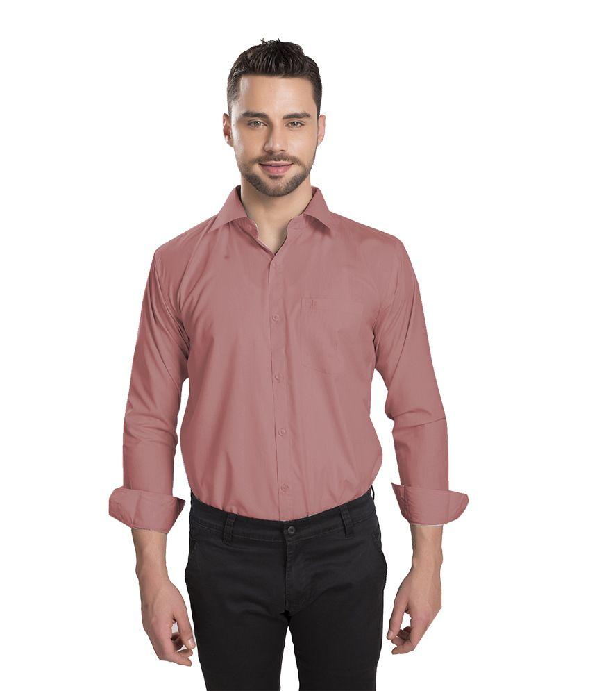 Ishin Pink Cotton Blend Formal Shirt