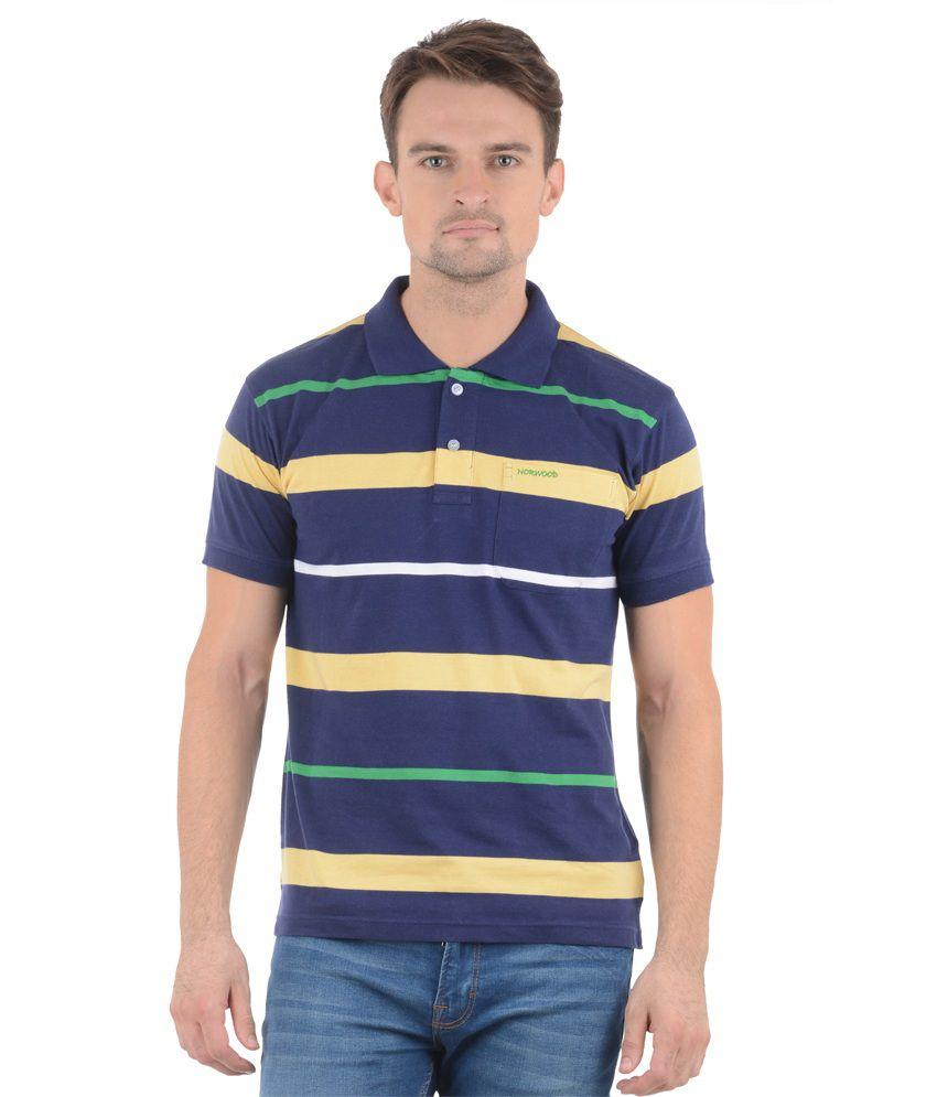 Norwood Blue Green Cotton Blend Half Sleeves T-Shirt