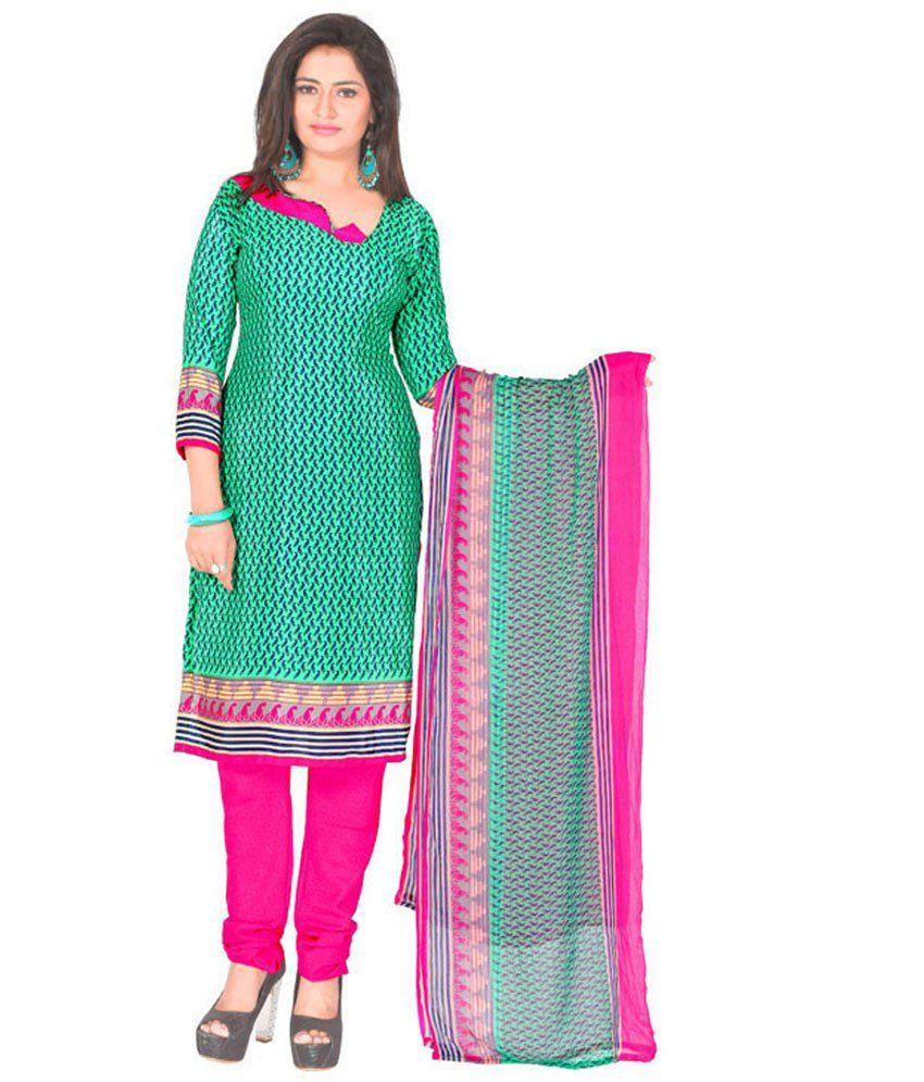Parisha Green Art Crepe Unstitched Dress Material