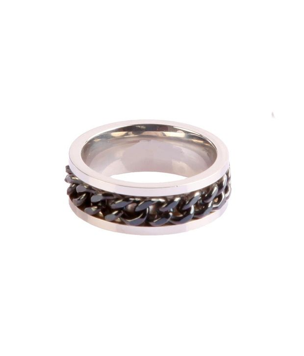 Wise Pebbles Black Chain Stainless Steel Ring For Men