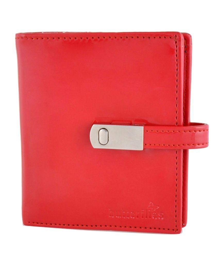 Butterflies Red PU Wallet for Women