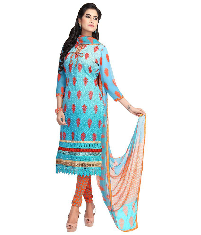 Dilwaa Blue Faux Georgette Unstitched Dress Material
