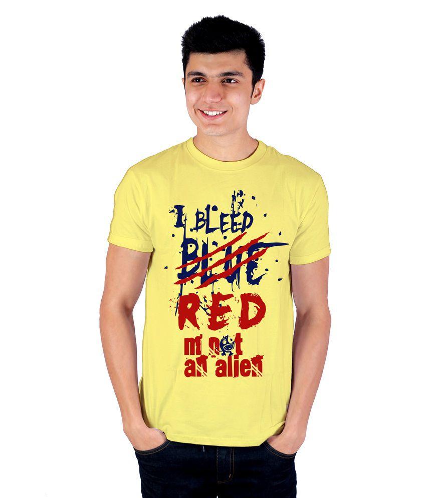 Enquotism Yellow Cotton Round Neck Half Sleeve Printed T-Shirt