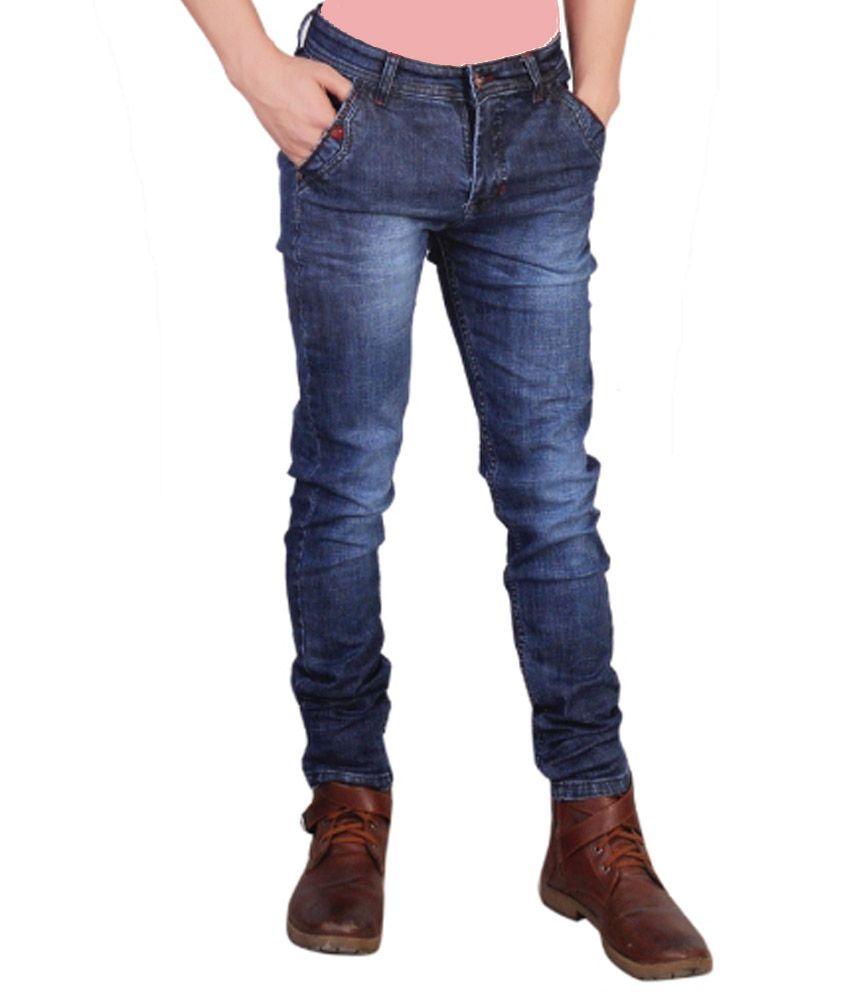 Grace Jeans Blue Cotton Slim Jeans