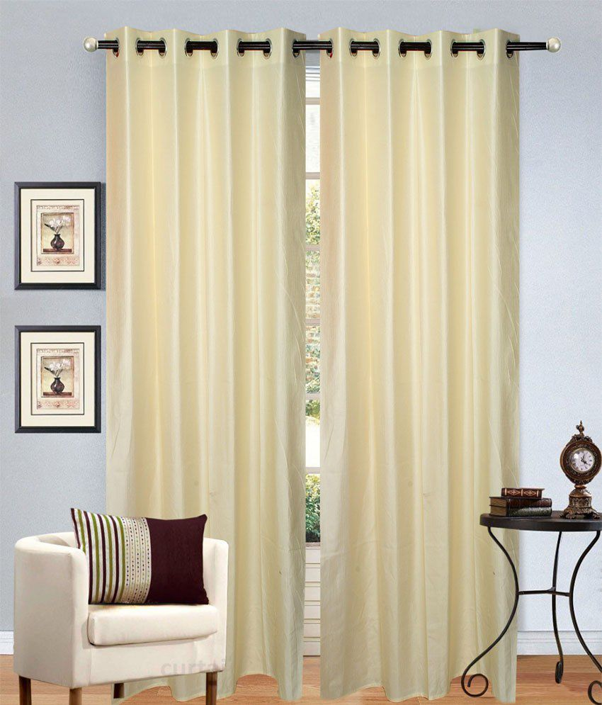 Handloom Hut Set of 2 Door Eyelet Curtains Solid Multi Color