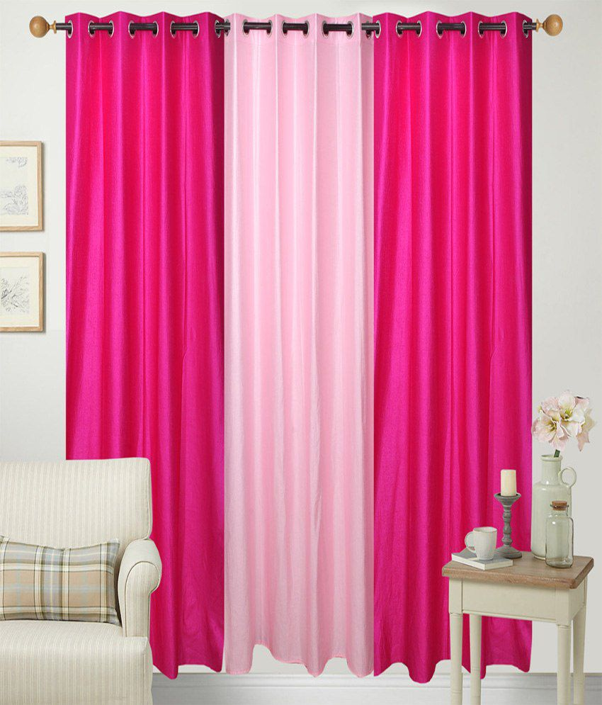 Handloom Hut Set of 3 Door Eyelet Curtains