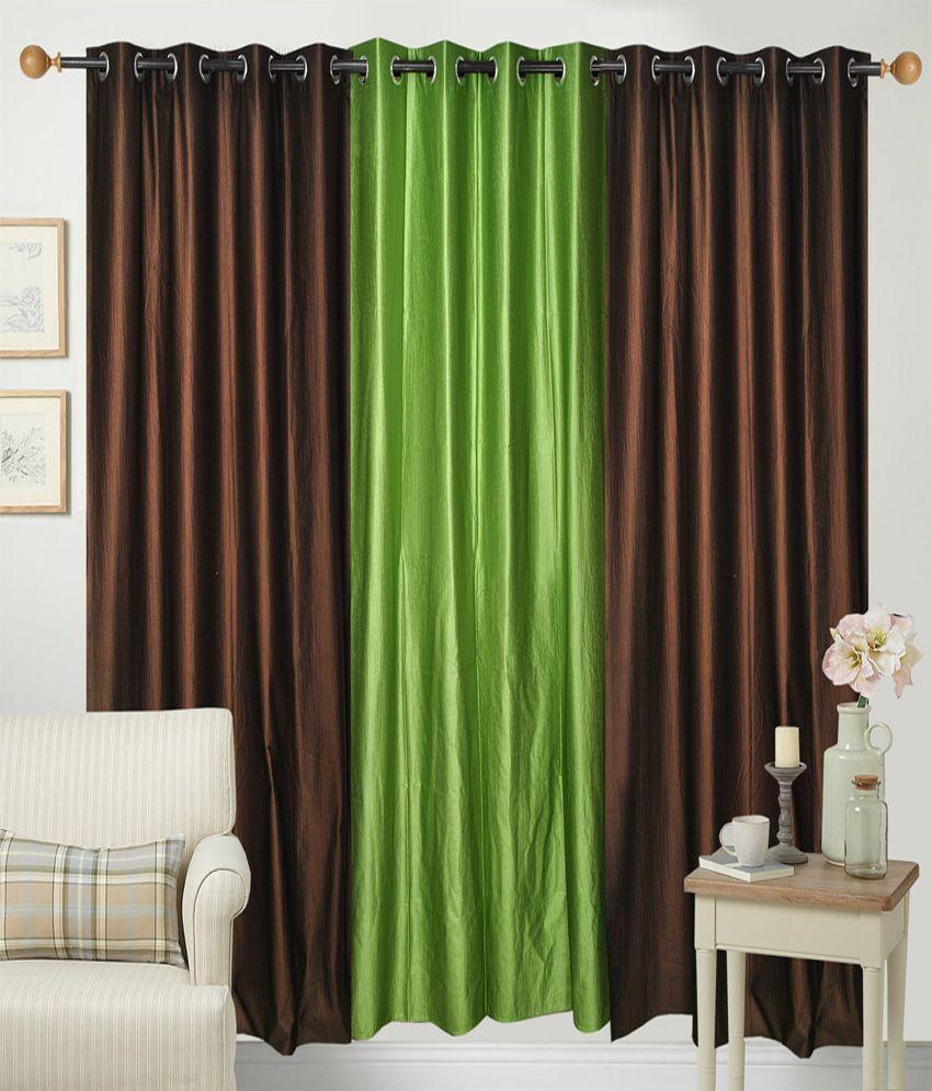 Handloom Hut Set of 3 Door Eyelet Curtains Solid Brown&Green