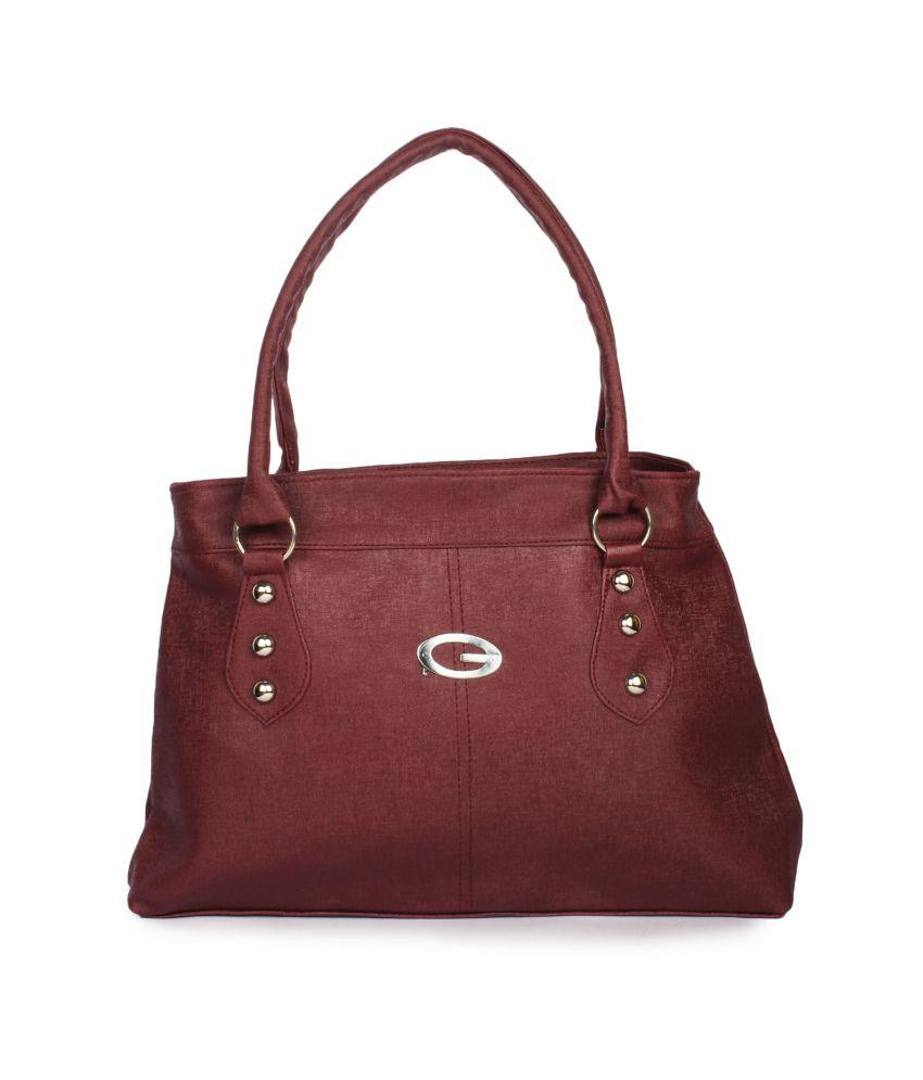 Maiden Maroon P.U. Shoulder Bags