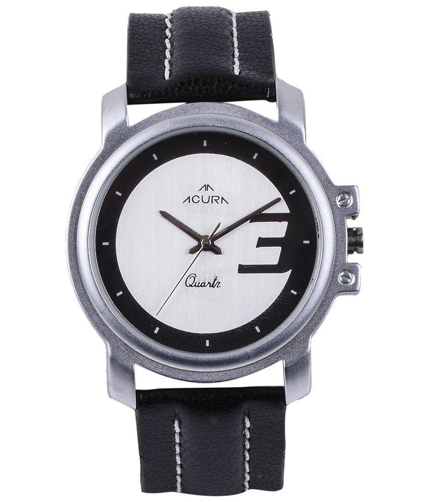 Acura Black Leather Wrist Watch