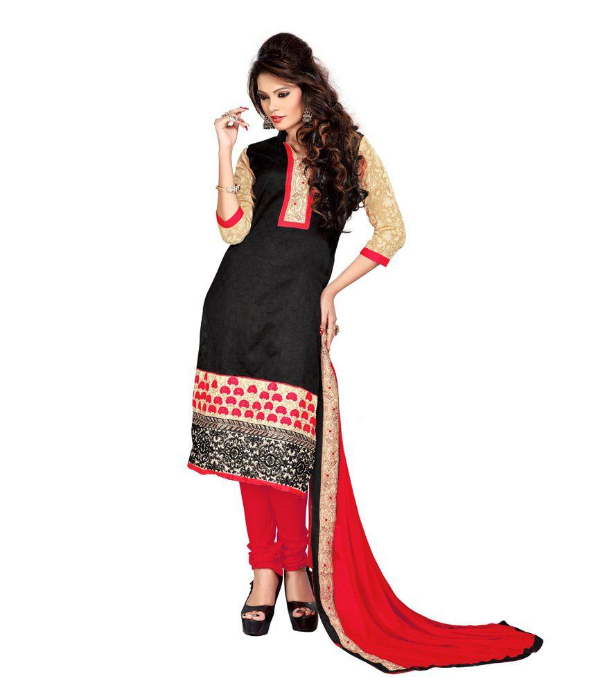 Anarkali Black ChanderiSemi-Stitched Dress Material