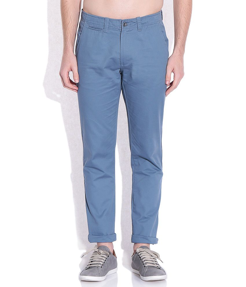 Arrow Sports Blue Slim Fit Casual Trousers