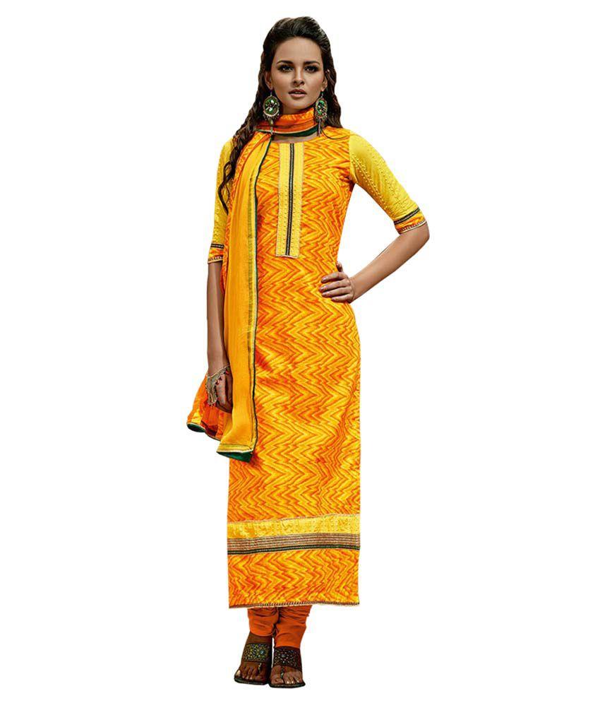 Radhika Sarees Yellow Cotton Unstitched Dress Material