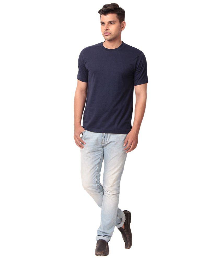 Rythm Fashion Dark Blue Cotton Half Sleeves T-shirt