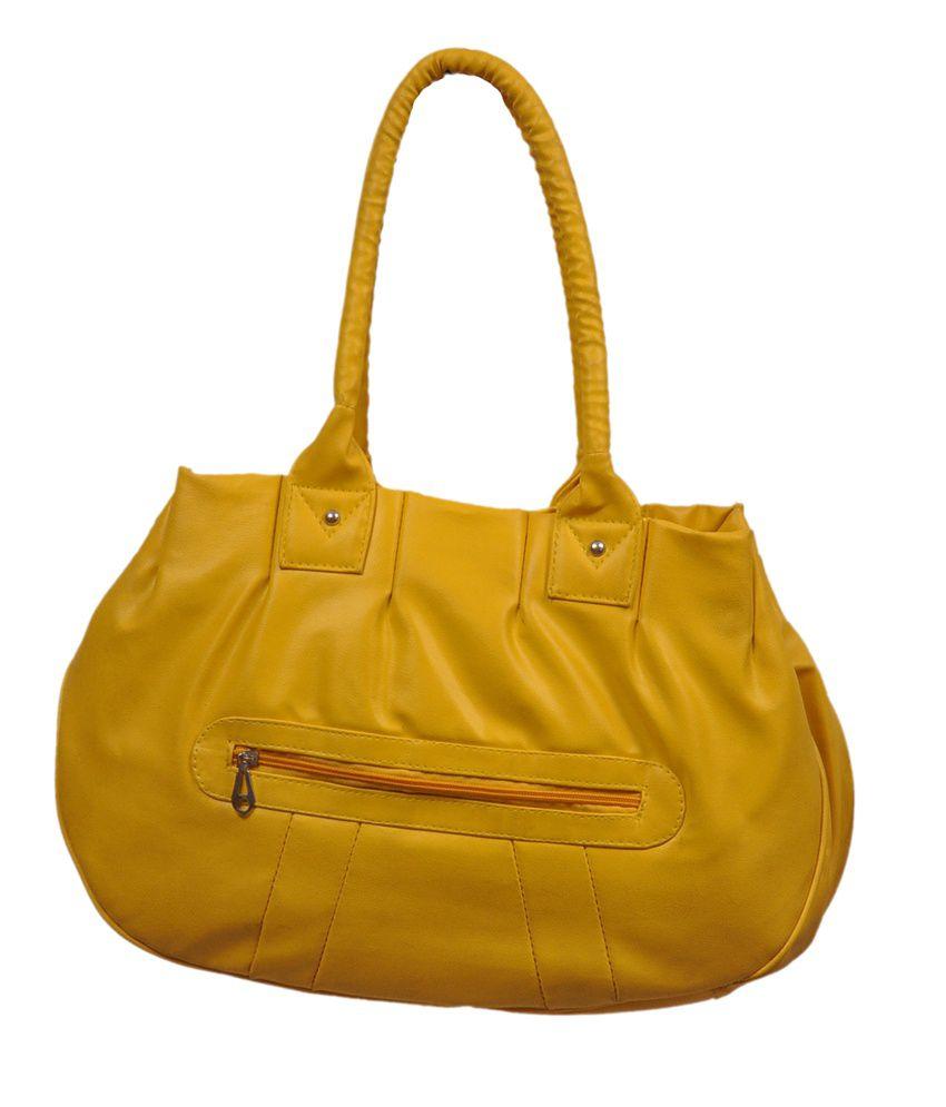 Speed Dot Yellow Zip Hand Bag