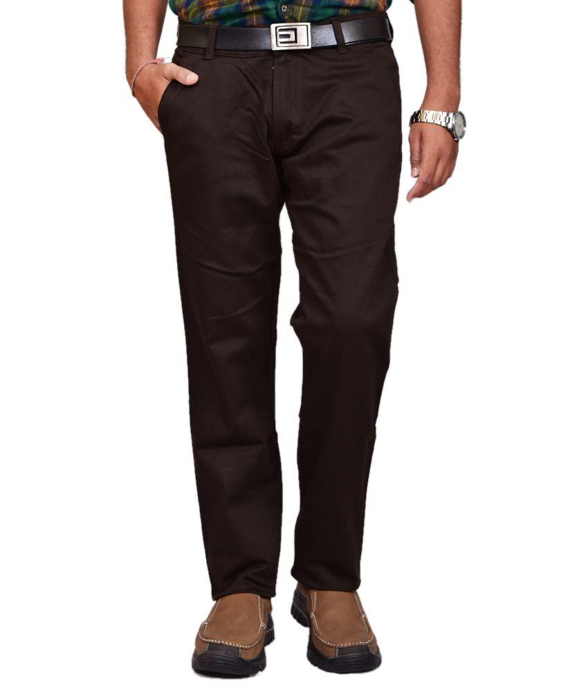 British Terminal Brown Cotton Lycra Chinos Casual Trouser