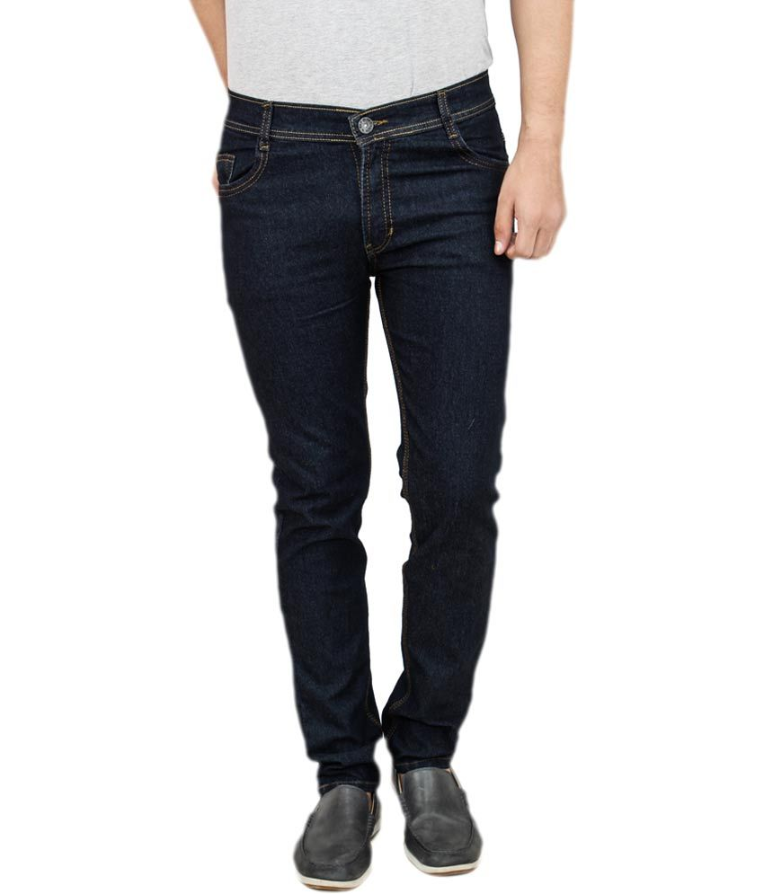Frankline Black Cotton Blend Slim Fit Jeans