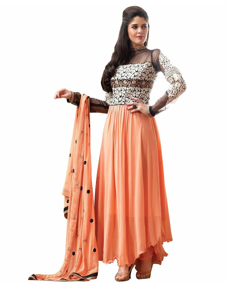 JK Creation Orange Pure Georgette Stitched Suit