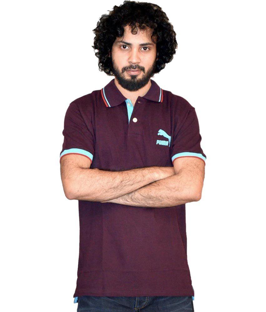 Puma Purple Solid Half Sleeves Polo T-Shirt
