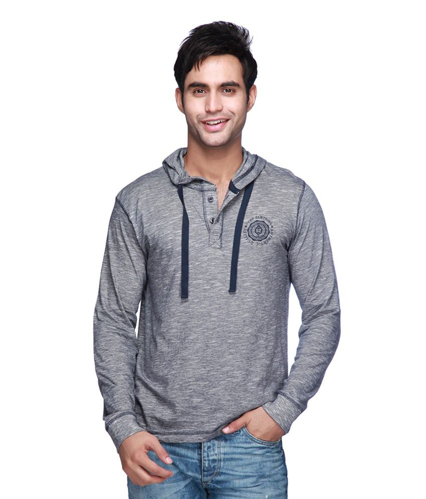 Mario Zegnoti by Shoppers Stop Blue Cotton Hooded T-Shirt