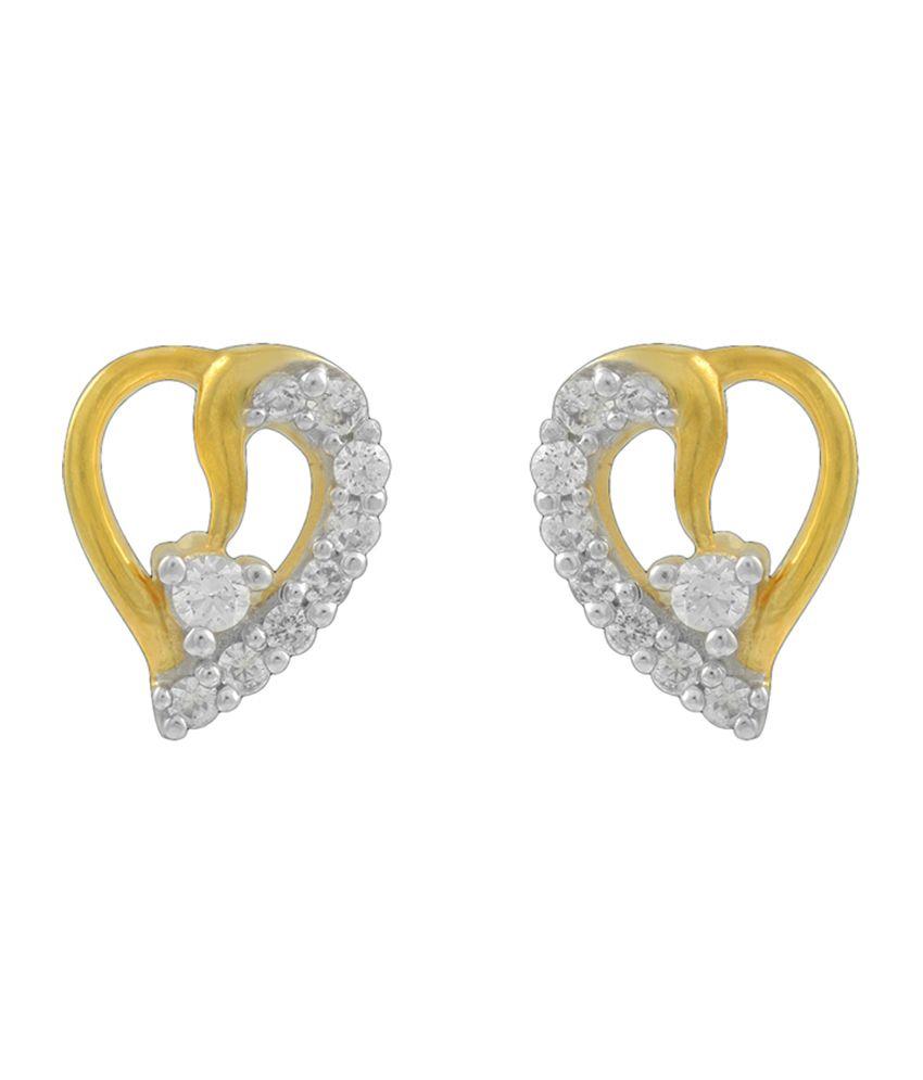 P.N.Gadgil Jewellers Little Heart Diamond Earrings