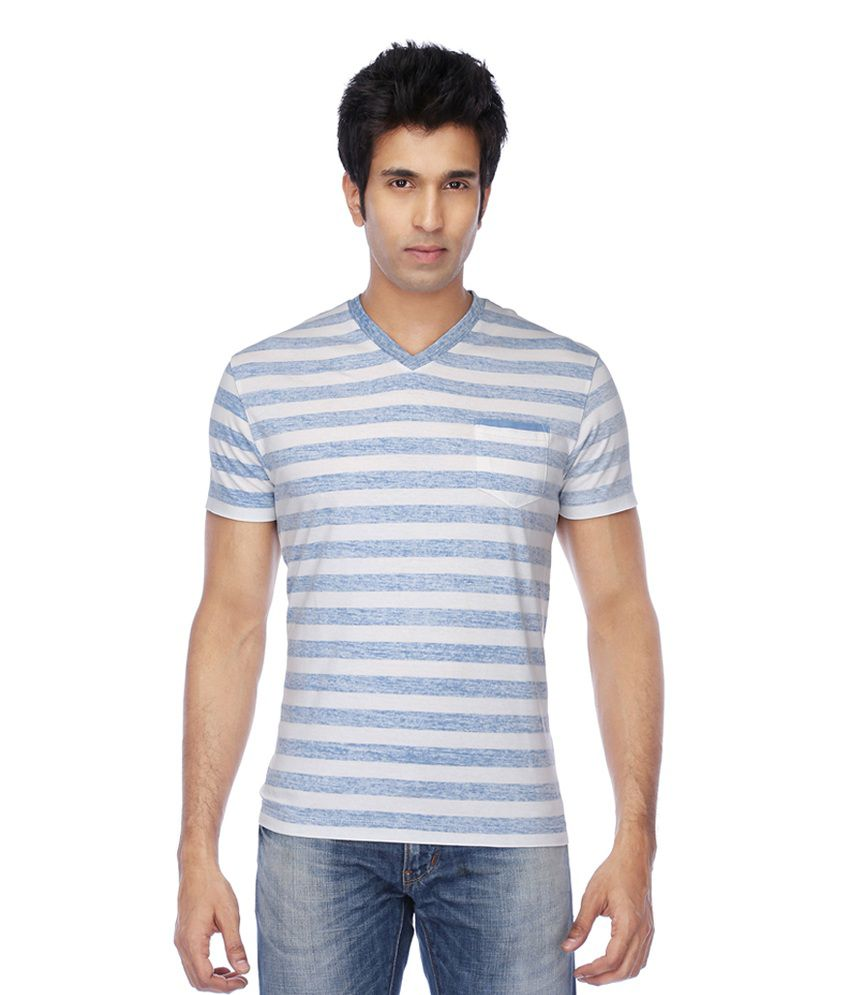 Stop by Shoppers Stop Blue Cotton Striper T-Shirt