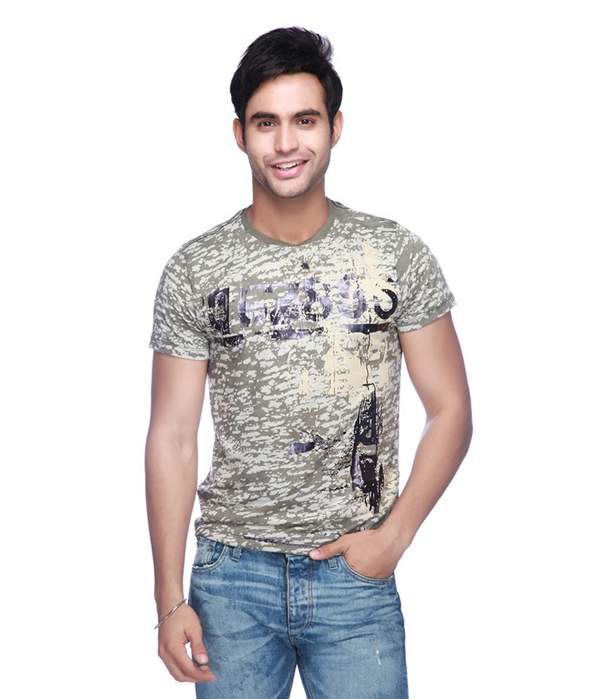Vettorio Fratini by Shoppers Stop Green Cotton Round Neck Printed T-Shirt