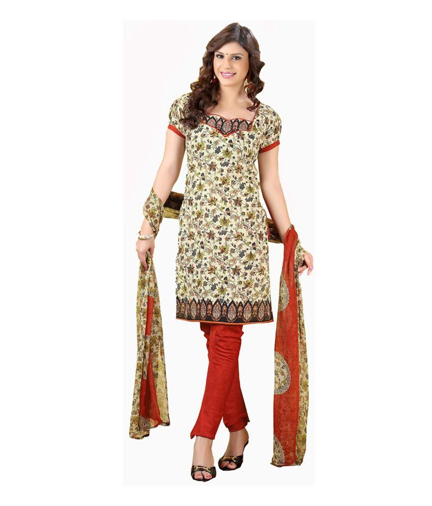 Parisha Yellow Art Crepe Unstitched Dress Material