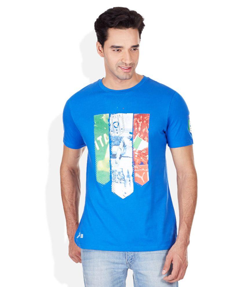 Puma Blue Printed Round Neck T-Shirt