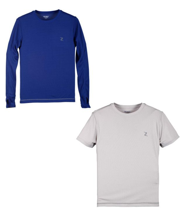 Zobello Blue And Gray Polyester T-shirts (Combo Of 2)