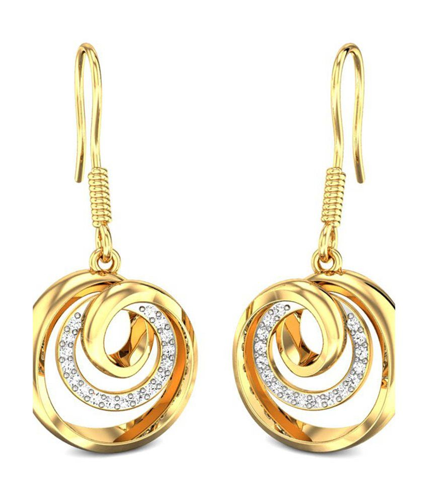 Candere Olives Diamond Earrings Yellow Gold 18K